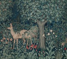 """"""" """"Greenery"""" tapestry Designer: John Henry Dearle (British, 1860-1932) for Morris & Co. Date: 1892 Medium: Wool and mohair; tapestry weave Location: Museum of Fine Arts, Boston """" The Forest by William..."""