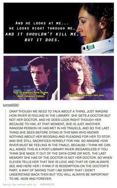 River Song. My favorite Heroine in my favorite love story. Tears came in this episode when the Doctor said he always sees her.