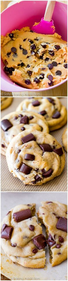 An easy recipe for chewy chocolate chunk cookies.