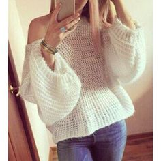 Wholesale Stylish Round Neck Long Sleeve White Women's Oversized Sweater Only $9.25 Drop Shipping | TrendsGal.com
