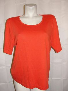 by CHICO'S Top Women's Sz 2 Large Orange 100% Cotton Short Sleeve Pullover Shirt #Chicos #KnitTop #Casual