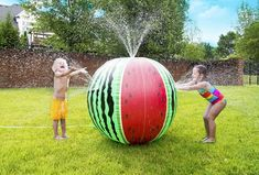 Kids will have a JUMBO good time this summer with the new Mega Melon Sprinkler Ball. Standing 3 feet tall, this giant, melon ball of fun, spouts water from four different fountains. It's the super soaker inflatable of the summer. Outdoor Toy Storage, Outdoor Toys, Outdoor Games, Outdoor Play, Outdoor Learning, Birthday Games For Kids, Summer Birthday, Birthday Ideas, 5th Birthday