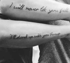 10 Quote Tattoos For Couples Who Totally Complete Each Other Best Friend Tattoo Quotes, Couple Tattoo Quotes, Love Quote Tattoos, Couple Tattoos Love, Bff Tattoos, Thigh Tattoos, Tatoos, Cutest Tattoos, Sleeve Tattoos
