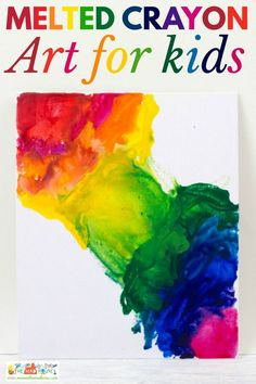Melted Crayon Art - This is a fab process art activity for tweens and teens that produces stunning results. A great alternative kids craft for using crayons. This DIY craft has to be seen to be believed. Preschool Arts And Crafts, Creative Arts And Crafts, Craft Activities For Kids, Creative Kids, Kids Crafts, Craft Ideas, Activity Ideas, Classroom Activities, Toddler Activities