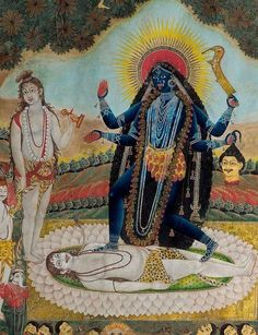 Kali Adored by the Gods <br> Bengal, India, Century <br> Kali Goddess, Mother Goddess, Mother Kali, Divine Mother, Tantra Art, Modern Indian Art, Kali Ma, Hindu Art, Indian Paintings