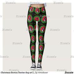 Christmas Boston Terrier dog art leggings