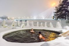 When a daily swim in the heart of a city centre is a must. Only in #Rovaniemi. #Lapland