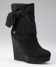 Black Suede Harper Wedge Boot