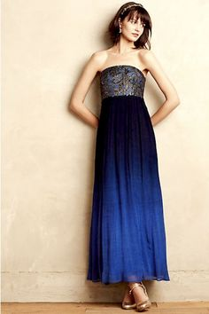 NEW Anthropologie Moulinette Soeurs blue ombre Ocean Fade Maxi Dress 10 $248 #Maeve #maxidress #Formal