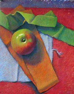"""Still Life 3"" - Susan Ellis, apple pastel drawing."