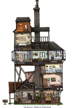 The Burrow art print. I love this, I think it would look great on a wall. It's a great way to show you're a Harry Potter fan without it being too in your face... #harrypotter