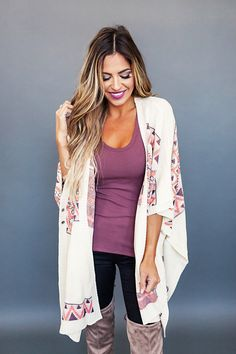 Cream Aztec Print Cardigan - Dottie Couture Boutique