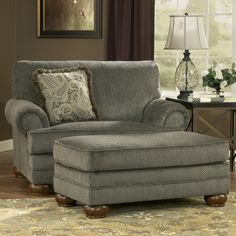 Parcal Estates   Basil Traditional Chair And A Half And Ottoman With Fringe  Toss Pillow By Signature Design By Ashley   Miskelly Furniture   Chair U0026  Ottoman ...