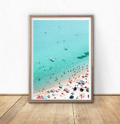 Beach Art Print, Areal Beach, Printable Wall Art, Beach Photography, Modern Minimal, Umbrella Print, Seaside Art, Teal Art, Digital Download  THIS PRINT IS A CROPPED VERSION OF THIS IMAGE( LINK BELOW) AVAILABLE AS LANDSCAPE FORMAT ( PADDLE BOATS REMOVED TO OFFER A SLIGHTLY DIFFERENT VARIATION )   https://www.etsy.com/uk/listing/515794620/beach-print-busy-beach-art-print-digital?ref=listings_manager_grid   ************INSTANT DOWNLOAD*********************  He...