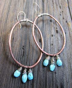 Copper Oval Hoop Earrings with Sleeping Beauty by TNineDesign