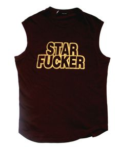 445$ DSQUARED  STAR F*CKER TEE TRUNK SLEEVELESS TSHIRT BROWN BLACK GOLD LOGO M L #Dsquared2 #EmbellishedTee
