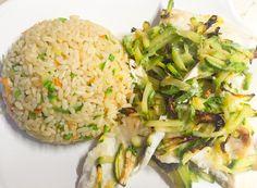 Riso all'orientale con verdure alla julienne! Filetti di orata con verdure