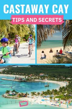 Castaway Cay Tips and Secrets.  If you're traveling to Disney's private island on a Disney Cruise, you'll want to make sure you make the most of your day in the Bahamas.  Ideas for activities, which souvenirs to buy and wear, what to do about food, beach tips, snorkeling ideas, beach bag packing list ideas, unique things to do (and fun for adults!) and so many more.  Use these hacks and tips for making this one of the best cruise excursions! #CastawayCay #Disney #Bahamas #familytravel #cruise