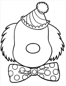 Free Printable Coloring Pages, Coloring Book Pages, Coloring Pages For Kids, Free Coloring, Printable Worksheets, Clown Crafts, Circus Crafts, Clown Faces, Cartoon Faces