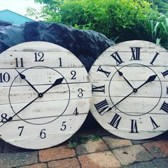 """24"""" Custom antique white distressed clocks heading out!"""