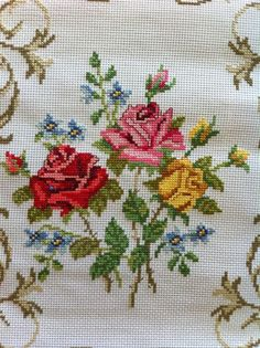Roses-Red-Yellow-Pink with Vine Boarder-Completed Counted Cross Stitch-Cut Flower: