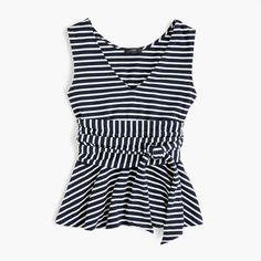 J.Crew - Sleeveless tie-waist peplum top in stripe