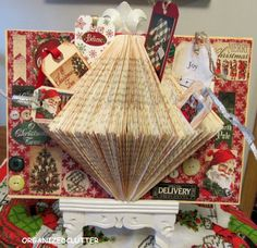 Organized Clutter: Christmas Folded Book Page Craft