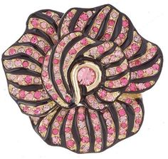 Kenneth Jay Lane Pin Brooch Camille Flower Pink Crystals Qvc J28413 #KennethJayLaneQVC