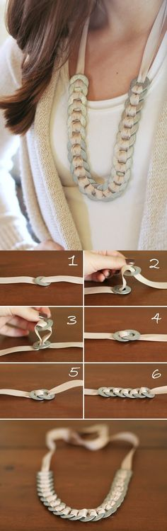 DIY Washer And Ribbon Necklace - Have you searched through all of your jewelry, only to find something that you don't want to wear? You can create a washer and ribbon necklace with any color that will match your outfit.