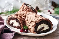 Yule Log (Classic Bûche de Noël) | King Arthur Baking: Chocolate sponge cake rolled around cream filling, frosted with whipped chocolate ganache. Cakes To Make, How To Make Cake, Fancy Cakes, Whipped Chocolate Ganache, Chocolate Sponge Cake, Baking Chocolate, Sponge Cake Roll, Biscuits, Noel Christmas