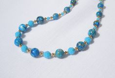 Turquoise imperial jasper and Swarovski turquoise crystal necklace by ParkhillDesigns on Etsy