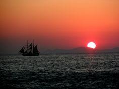 Greece, Santorini, beautiful sunset in the sea