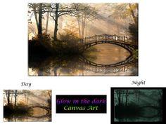 Glow in the Dark Canvas Art  Autumn Park  by GlowingCanvasArt