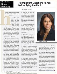 """Article by By Robin Young, CFP® RLP®, from our Finance section entitled """"10 Important Questions to Ask Before Tying the Knot"""". Read FREE now at www.applaudwomen.com/ApplaudWomenSpring2012mag.html#/80/"""