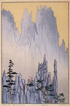 Cathedral Cliffs, Diamond Mountains, Korea ; 1928 ; Lilian May Miller