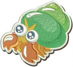 Hermit crab machine embroidery design. Machine embroidery design. www.embroideres.com