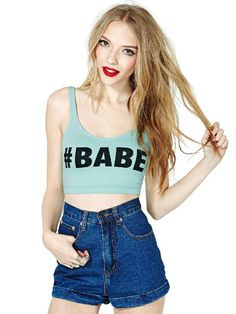 Sale 29% (6.58$) - Babe Letter Print Light Green Crop Tank Top