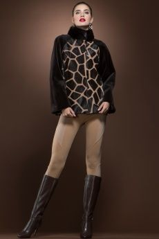 Giraffe Printed Calf, Sheared Mink and Mink Fur Jacket