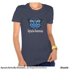 Apraxia Butterfly Awareness Ribbon Tee Shirt