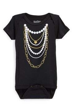 Sara Kety Baby & Kids 'Gold 'n Pearls' Short Sleeve Bodysuit (Baby Girls) available at #Nordstrom