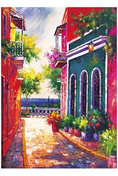 """Puerto Rico,20""""x24"""",Old San Juan, Canvas print of oil painting,Original print, signed by painter , Calle Las Monjas  ,  built 500 years ago,, no frame ,"""