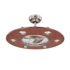 Fanaway classic orb ceiling fan with clear retractable blades and 300 allen roth 28 in dexter brushed nickel ceiling fan with light kit and aloadofball Choice Image