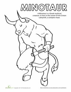 This Minotaur coloring page features the creature from Greek mythology that is part man and part bull. Try our Minotaur coloring page with your child. Greek Mythical Creatures, Mythological Creatures, Greek Mythology Art, Roman Mythology, Greek Monsters, Sea Monsters, Teaching Latin, Greek Crafts, Ancient Greece