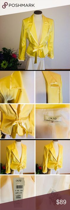"""NWT Cache Blazer Jacket """" LEMON"""" Yellow with bow Beautiful Yellow Blazer.   Brand New With Tags  In excellent condition.   See pictures for details and condition   Ask questions before purchasing   🧜♀️ Happy Poshing 🧜♀️ Cache Jackets & Coats Blazers"""