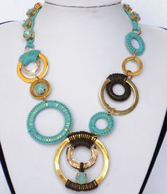 jewelry turquoise gold brown necklace, chainmaille, wire warpped, tying necklace handmaid, swarovski crystal setting necklace