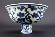 Chinese Ming Blue&White Handle Cup 6 3/4 x 4 1/4""