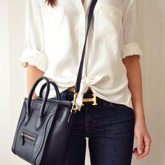Fancy combo. Celine Mini Luggage Bag + Hermes Belt.