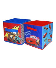 Add storage space to a little one's playroom or bedroom without detracting from its playful decorative theme with the addition of this storage cube set. It features a space-savvy, collapsible design that makes it easy to store when empty and features the ever-lovable Cars cast on the sides. Includes two storage cubesEach cube: 10'' W x 12'' H x 10...