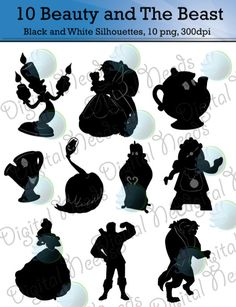 10 Beauty and The Beast Silhouettes / png and by DigitalNeeds