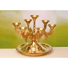 Buy Traditional Brass Lamp Unique Karpura Kelay With Handle Hindu Culture, Brass Lamp, Candle Holders, Corner, Handle, Traditional, Unique, Products, Porta Velas